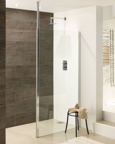 Valliant Square Pole Walk In, Wetroom Glass Screen - Various Sizes